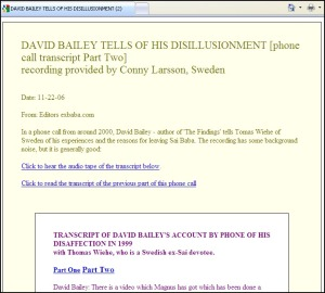ExBaba Website Claimed That The Bailey - Wiehe Phone Conversation Was Made By Psychic Trance Medium Conny Larsson